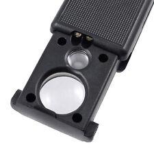 Pocket Magnifier 30X 60X Microscope Mini Jewellery Loupe Glass LED UV Currency G