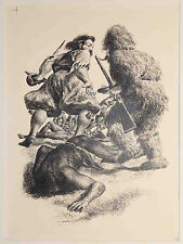 Listed Spanish American Artist Federico Castellon, Ink Drawing,'Robinson Crusoe'