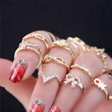 7pcs Popular Mini Crystal Bowknot Knuckle Midi Mid Finger Tip Stacking Ring Set