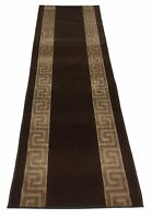 "Custom Size Meander Brown indoor Hallway Runner Rug Non Skid Slip Resistant 36""W"