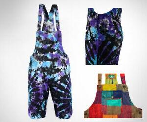 100% COTTON  Tie Dye / Patch - Dungaree Shorts / Jump Suit