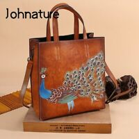 Luxurious New Genuine Leather Casual Tote Vintage Animal Prints Zipper Hard