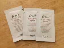 3x FRESH Rose Face Mask travel sample 12 ml packets hydrates tones