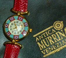 NEW Gold Plated MILLEFIORI MURANO GLASS LADY WATCH Quartz MURRINA VENEZIANA