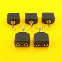 "5PCS 3.5mm Valentines Stereo Audio Adapter 1/8"" 1 Male Plug to 2 Female Jacks"