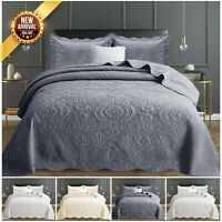 3 Piece Cotton Quilted Bedspread Embroidered Bedding Set Single Double King Size