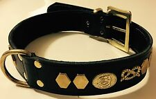 "STAFFORDSHIRE- STAFFIE-STAFFY-BULL TERRIER REAL LEATHER DOG COLLAR - 1""1/4 WIDE"