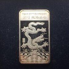 Proof Finish 2012 Year Of The Dragon 1/2 Ounce Silver Bar .999 Silver Bullion
