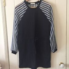 Mix & Match Pin Striped Chiffon Dress, Drawstring style, Navy white, Size 8