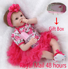 "22"" Lifelike Reborn Baby Doll Handmade Floral Dress Baby Doll Vinyl Kids Gift"