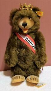 "Steiff Berlin Bear, 010057, Made 1993, 11"" tall, Mohair, Crown & All Tags Attach"