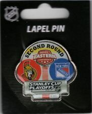 NEW YORK RANGERS OTTAWA SENATORS 2017 NHL PLAYOFFS DUELING TEAM PIN 2ND ROUND