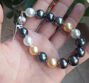 "huge7.5-8""10-11mm south sea genuine round black gold multicolor pearl bracelet"