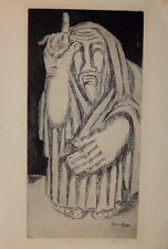 "BEN-ZION WEINMAN ""MOSES"" Mid-Century Figurative Expressionist Etching, Signed"