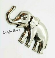Ornate Vintage Signed Lang Sterling Silver Repousse Elephant Mid Century Brooch