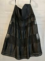 Foley And Corinna Size L Black Silk Lace Party Cocktail Dress Strapless