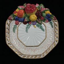 Fitz & Floyd Venezia 2001 Hexagon Fruit & Bird Design Canape Serving Plate New