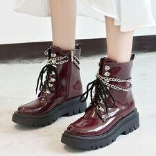 Women's Gothic Fashion Round Toes Lace Up Patent Leather Ankle Boots Casual Hot
