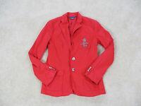 Ralph Lauren Blazer Womens Size 4 Red Silver Jacket Casual Coat Ladies *