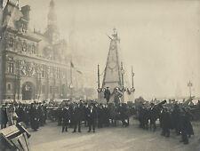 DÉFILÉ HOTEL DE VILLE PARIS 1918 TIRAGE ARGENTIQUE D'EPOQUE