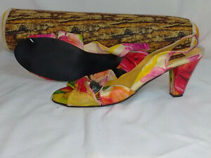 Real Leather Tropical Print Wide Fit Block Mid/Low Heel Sandals Size~UK 7.5/41