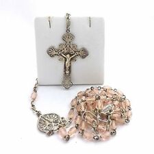 ANTIQUE 800 SILVER PINK BEAD ROSARY CRUCIFIX NECKLACE