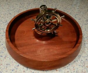 WOOD NUT BOWL AND CRACKER -  BRASS SHIPS WHEEL