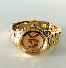 NWT Michael Kors Women Small Watch Gold MK Logo Dial Bracelet RUNWAY MK3612 $225