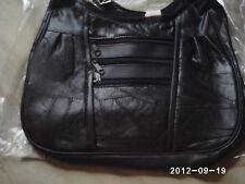 Genuine Black Patchwork Leather Shoulder Organizer Bag Purse Interior Lighted