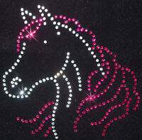 HORSE HEAD pink iron-on rhinestone DIAMANTE bead diy T-SHIRT TRANSFER patch