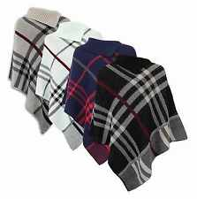 New Women's Ladies Contrast Check Print Pullover Poncho Shawl Cardigan Size 8-22