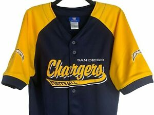 NFL Reebok San Diego Chargers Blue Baseball Jersey Yellow Sleeves Youth XL
