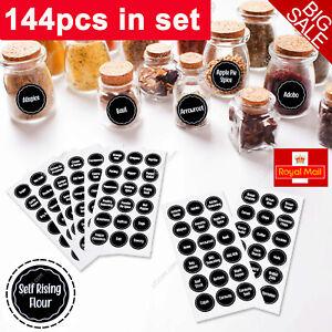 144 x Herb Spice Jar Labels Black Vinyl Stickers Decals Waterproof –37mm Round