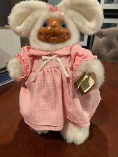 Robert Raikes Bear Vtg Paulette Wood Face Applause In Box Bunny Plush Easter