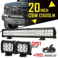 "20INCH 126W +4"" 18W SPOT FLOOD COMBO CREE LED WORK LIGHT BAR OFFROAD TRUCK 22/24"