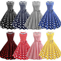 Women Dot Swing 50s 60s Retro Housewife Rockabilly Party Evening Dresses