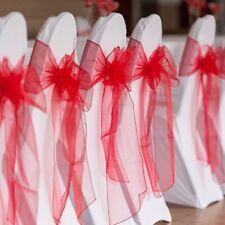 Rouge Lot De 100 Noeud de Chaises Organza Housse décoration Cérémonie Mariage