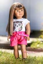 Owl Graphic Girl T Shirt + Hot Pink Shorts Clothes for 18 inch American Doll