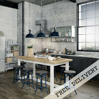 Rustic Wooden Kitchen Island Desk High Bench Bar Pub Table Solid Timber 5cm Top