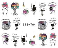 Nail Art Stickers Water Decals Transfers Topless Boston Watercolours (STZ764)