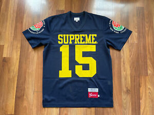 Supreme Football Roses Jersey Size Medium  Michigan Blue Yellow Top