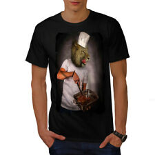 Wellcoda Lion Chef Kitchen Funny Mens T-shirt, Lion Graphic Design Printed Tee