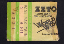 1976 Zz Top Rory Gallagher Concert Ticket Stub Fort Worth Texas Tejas 11/27