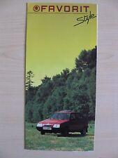 Skoda Favorit 136L & 136LX UK Sales Brochure (1989/90).