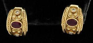Heavy 14K gold beautiful 1.20CTW VS2/G diamond & 6 X 4.3mm ruby curved earrings