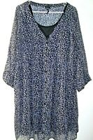 Torrid Animal Print Sheer Shirt Dress w/Slip Women Sz 1 Button Front Tab Sleeves