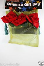 ORGANZA SEE THROUGH GOLD MESH GIFT BAG WITH SATIN ROSES DRAW STRING GREEN TASSEL