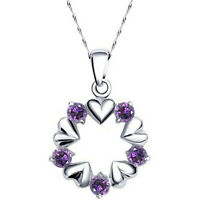 LADIES 925 STERLING SILVER NECKLACE WITH PURPLE HEART PENDANT CHAIN UK SELLER