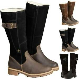 Womens Winter Knee High Snow Boots Warm Winter Zip Flat Faux Fur Lined Shoes New