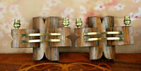 Antique rare PAIR scandinavian WOOD / COPPER Wall sconces art deco special
